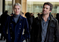 """King & Maxwell"" - Pilot - 3 Sean & Michelle are released# 1 Jon Tenney as Sean King # 2 Rebecca Romijn as Michelle Maxwell"